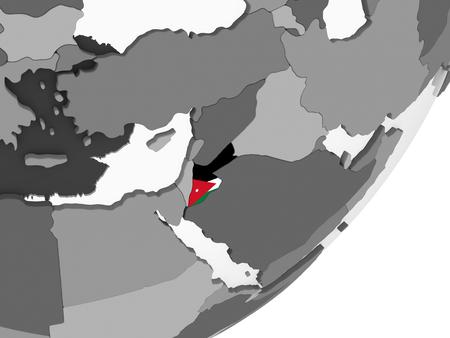 Jordan on gray political globe with embedded flag. 3D illustration. Stockfoto