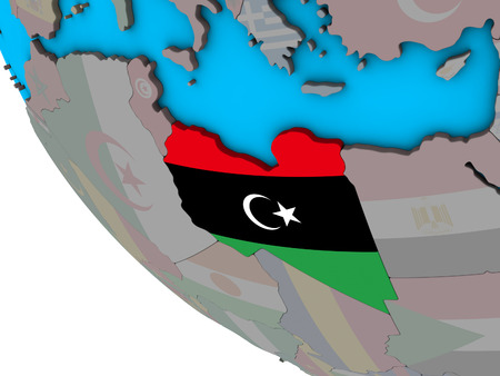 Libya with embedded national flag on simple 3D globe. 3D illustration.