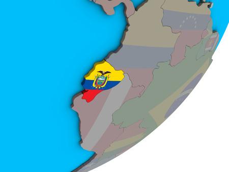 Ecuador with national flag on blue political 3D globe. 3D illustration.
