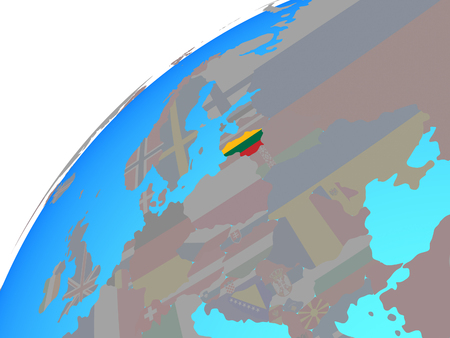 Lithuania with embedded national flag on globe. 3D illustration. Stock Photo