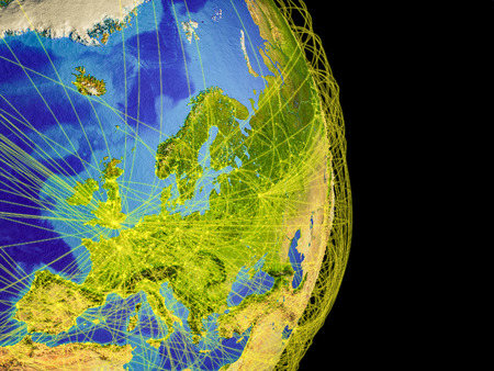 Europe on Earth with trajectories representing international communication, travel, connections. 3D illustration. Stock Photo