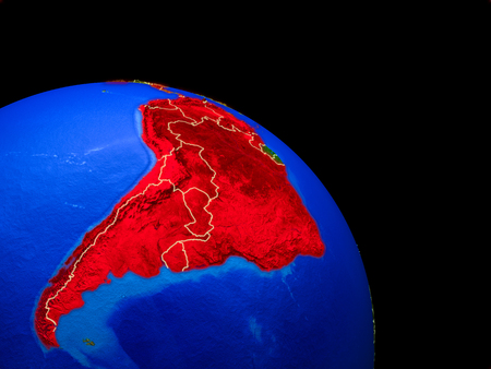 Latin America on planet Earth from space with country borders. Very fine detail of planet surface. 3D illustration. Stock Photo