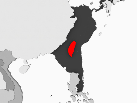 Taiwan in red on grey political map with transparent oceans. 3D illustration.