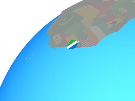 Sierra Leone with embedded national flag on globe. 3D illustration. Stock Photo