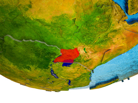 Uganda on 3D Earth with divided countries and watery oceans. 3D illustration. Stockfoto