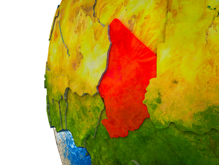 Chad highlighted on 3D Earth with visible countries and watery oceans. 3D illustration.