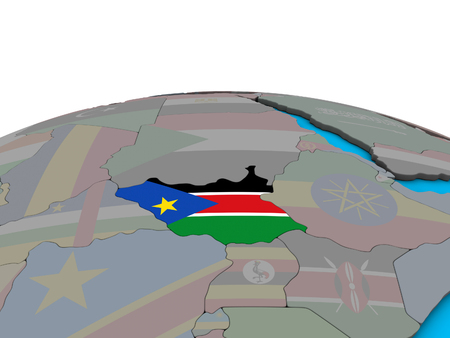 South Sudan with embedded national flag on political 3D globe. 3D illustration. 스톡 콘텐츠 - 113098328