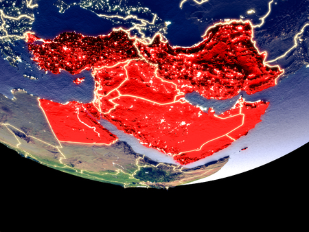 Satellite view of Middle East from space at night. Beautifully detailed plastic planet surface with visible city lights. 3D illustration. Stock Photo