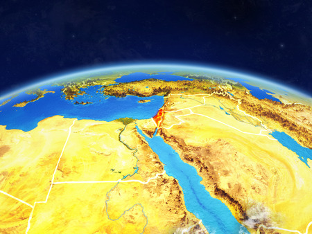 Israel on planet Earth with country borders and highly detailed planet surface and clouds. 3D illustration.
