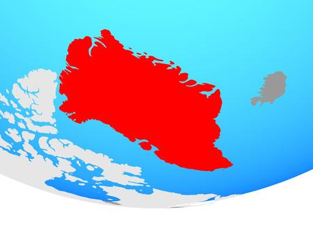 Greenland on simple political globe. 3D illustration.