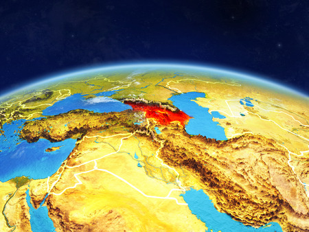 Caucasus region on planet Earth with country borders and highly detailed planet surface and clouds. 3D illustration.