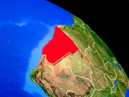 Namibia on planet Earth from space with country borders. Very fine detail of planet surface. 3D illustration.