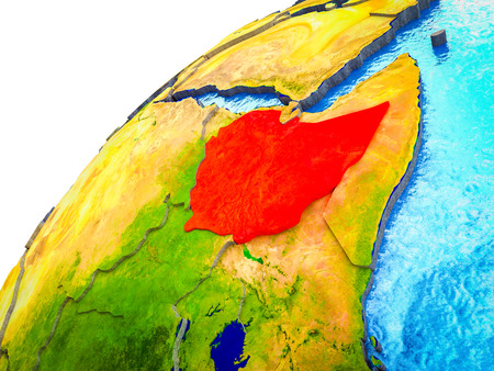 Ethiopia on 3D Earth model with visible country borders. 3D illustration. Banque d'images - 113098528
