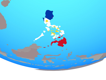 Philippines with national flag on simple political globe. 3D illustration.