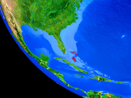 Bahamas on realistic model of planet Earth with country borders and very detailed planet surface. 3D illustration.