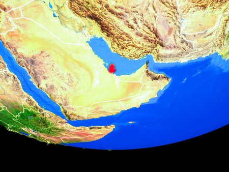 Qatar from space on model of planet Earth with country borders. 3D illustration.