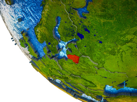 Lithuania on model of Earth with country borders and blue oceans with waves. 3D illustration. Stock Photo