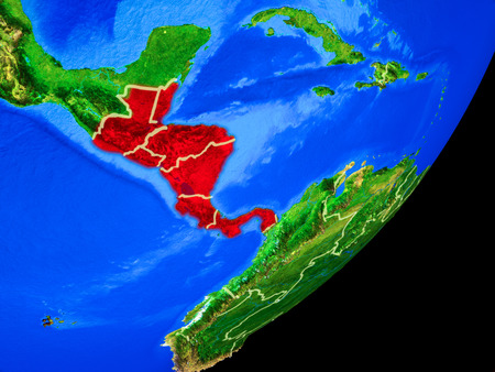 Central America on planet Earth with country borders and highly detailed planet surface. 3D illustration. Imagens