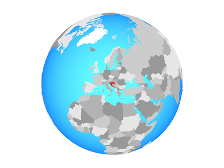 Croatia on blue political globe. 3D illustration isolated on white background. Фото со стока