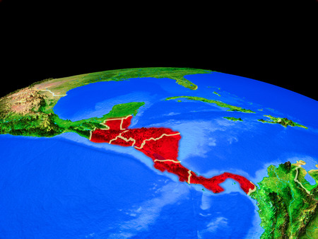 Central America on model of planet Earth with country borders and very detailed planet surface. 3D illustration. Imagens