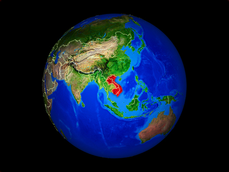 Indochina on planet planet Earth with country borders. Extremely detailed planet surface. 3D illustration. Reklamní fotografie