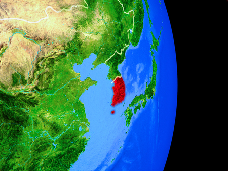 South Korea on realistic model of planet Earth with country borders and very detailed planet surface. 3D illustration.