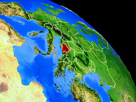 Bosnia and Herzegovina on planet Earth from space with country borders. Very fine detail of planet surface. 3D illustration.