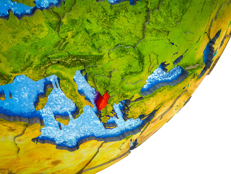 Albania on 3D model of Earth with water and divided countries. 3D illustration.