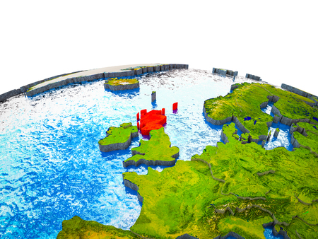 Scotland on 3D Earth with visible countries and blue oceans with waves. 3D illustration.