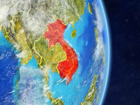 Indochina on planet planet Earth with country borders. Extremely detailed planet surface and clouds. 3D illustration.