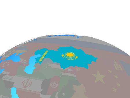 Kazakhstan with national flag on political globe. 3D illustration.