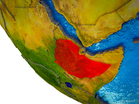 Ethiopia on model of Earth with country borders and blue oceans with waves. 3D illustration. Stockfoto