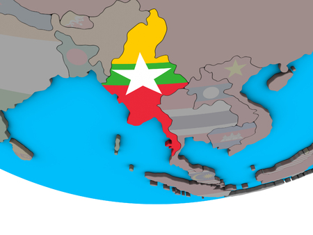 Myanmar with embedded national flag on simple political 3D globe. 3D illustration.