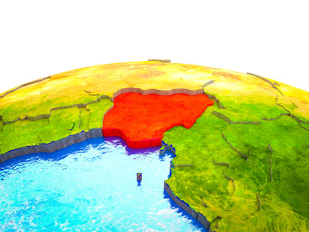 Nigeria on 3D Earth with visible countries and blue oceans with waves. 3D illustration.