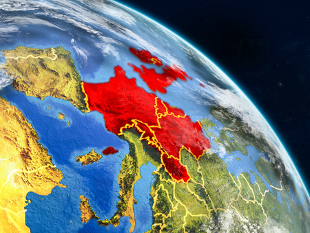 Western Europe from space on realistic model of planet Earth with country borders and detailed planet surface and clouds. 3D illustration. Banco de Imagens