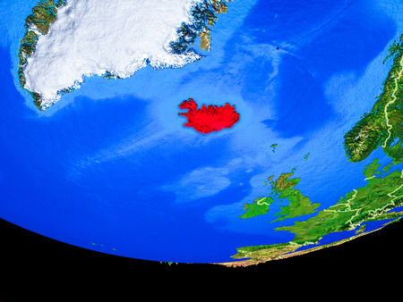 Iceland from space on model of planet Earth with country borders. 3D illustration.