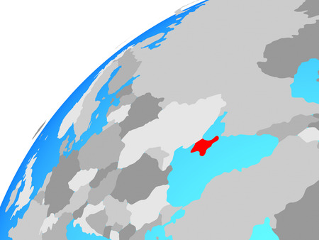 Crimea on globe. 3D illustration.