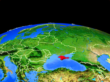 Crimea on model of planet Earth with country borders and very detailed planet surface. 3D illustration. Stock Photo