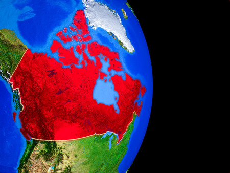 Canada on realistic model of planet Earth with country borders and very detailed planet surface. 3D illustration.