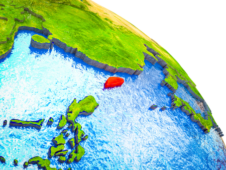 Taiwan Highlighted on 3D Earth model with water and visible country borders. 3D illustration.