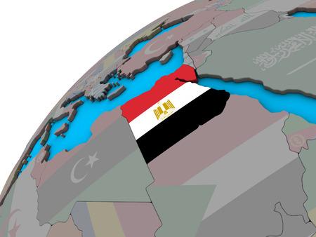 Egypt with national flag on 3D globe. 3D illustration. Stock Photo