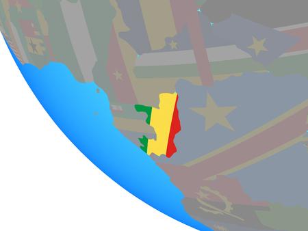 Congo with national flag on simple globe. 3D illustration. Standard-Bild - 113111285