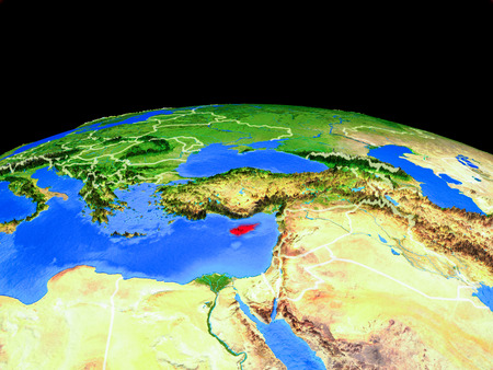 Cyprus on model of planet Earth with country borders and very detailed planet surface. 3D illustration. Stock Photo