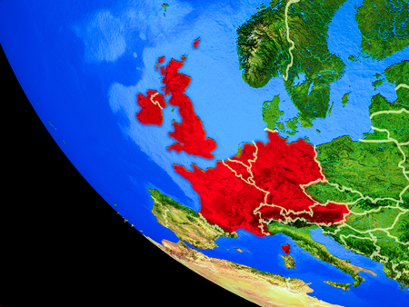 Western Europe on realistic model of planet Earth with country borders and very detailed planet surface. 3D illustration. Banco de Imagens