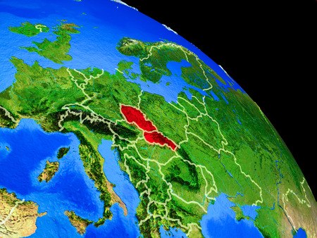 Former Czechoslovakia on planet Earth from space with country borders. Very fine detail of planet surface. 3D illustration.