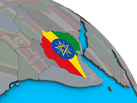 Ethiopia with embedded national flag on simple blue political 3D globe. 3D illustration. Stock Photo