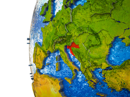 Croatia highlighted on 3D Earth with visible countries and watery oceans. 3D illustration. Фото со стока