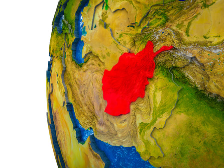 Afghanistan highlighted on 3D Earth with visible countries and watery oceans. 3D illustration.