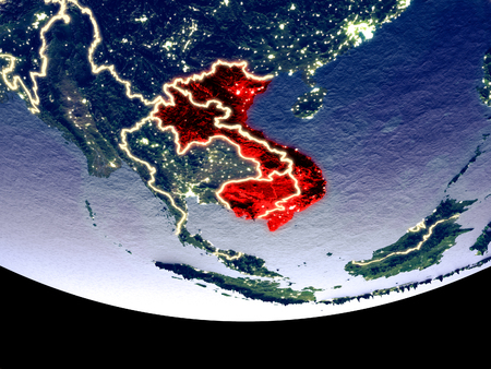 Satellite view of Indochina from space at night. Beautifully detailed plastic planet surface with visible city lights. 3D illustration. Reklamní fotografie