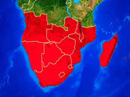 Southern Africa from space on model of planet Earth with country borders and very detailed planet surface. 3D illustration.